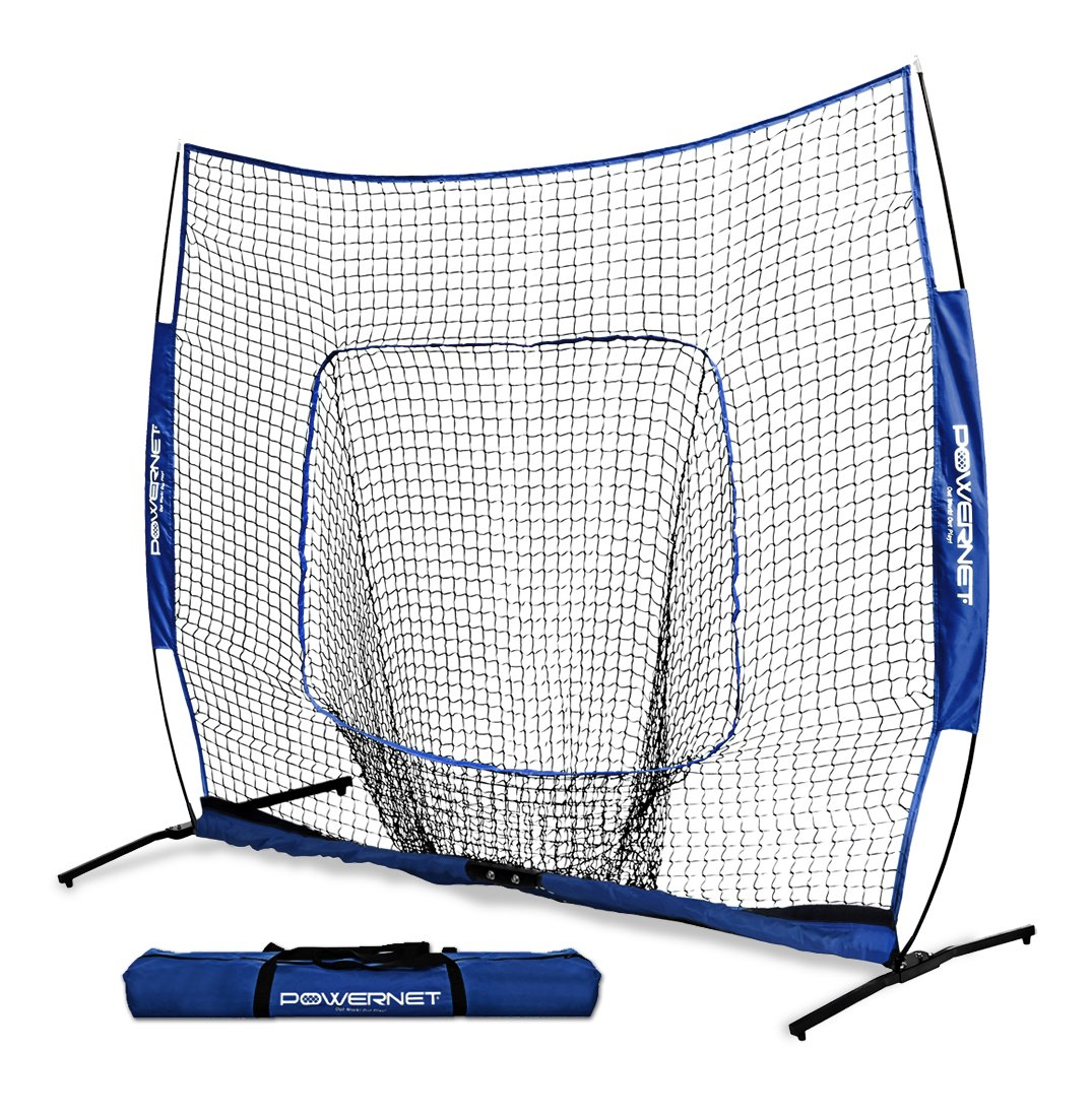 PowerNet 7x7 PRO Net with One Piece Frame (Royal Blue) | Baseball Softball Practice Net | Training Aid for Hitting Pitching Batting Fielding Portable Backstop | Bow Style Frame | Non-Tip Weighted Base by PowerNet