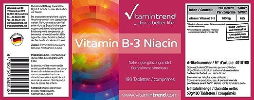 Niacina 100mg - 180 tabletas para 6 MESES- altas dosis de vitaminas B3 - veganas - niacina sin estearato de magnesio - Importante para el metabolismo ...