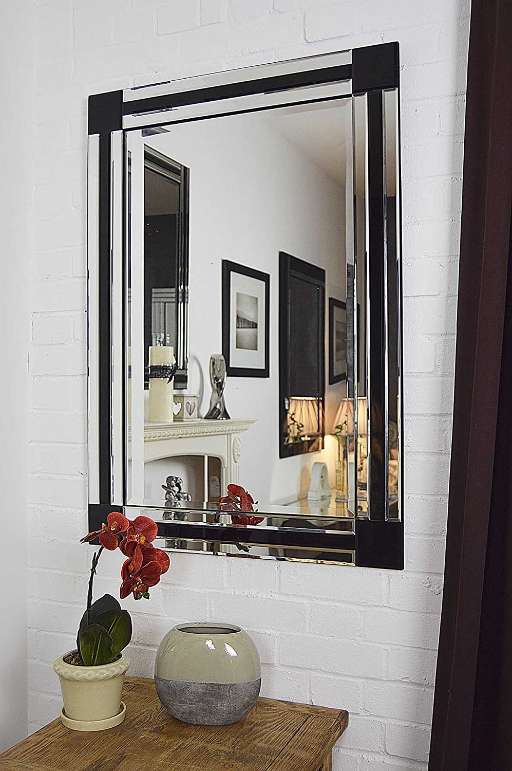 Large Modern Black And Silver Bevelled Venetian Mirror 3Ft3 X 2Ft3 70cmx100cm Amazoncouk Kitchen Home