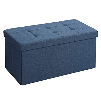 Astonishing Songmics Storage Ottoman Bench Chest With Lid Foldable Seat Bedroom Hallway Space Saving 80L Capacity Hold Up To 660 Lb Padded Navy Blue Bralicious Painted Fabric Chair Ideas Braliciousco