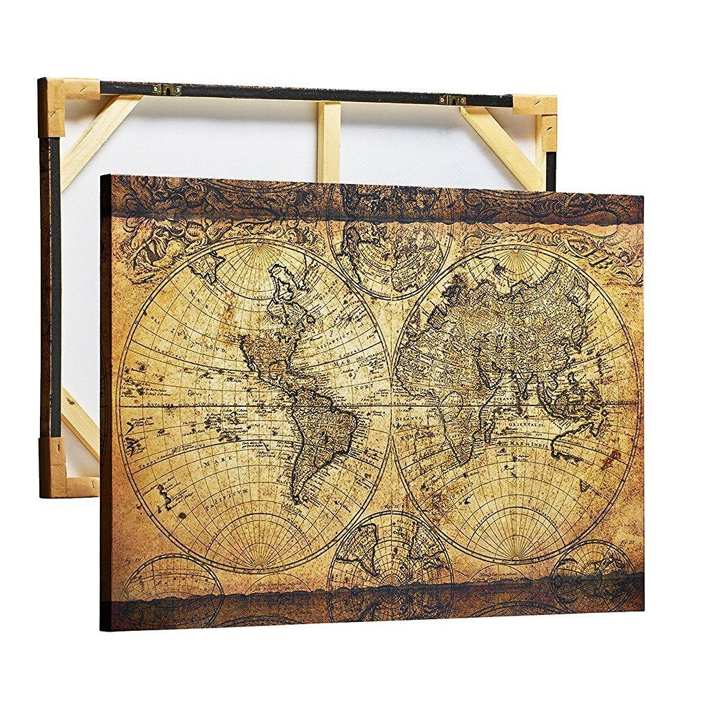 Details about Decor MI Vintage World Map Canvas Wall Art Retro Map of the  World Canvas Prints