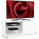 Centurion Gallus Gloss White 2-White Drawers 3-Shelf TV Stand