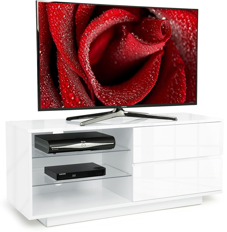Centurion Gallus Gloss White 2-White Drawers 3-Shelf TV Stand Centurion Supports Gallus White White