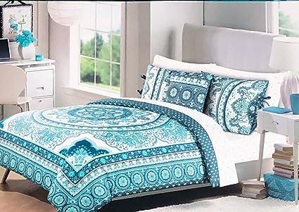 Cynthia Rowley Bedding 3 Piece Full/Queen Size Duvet Comforter Cover Set  Round Vintage Boho