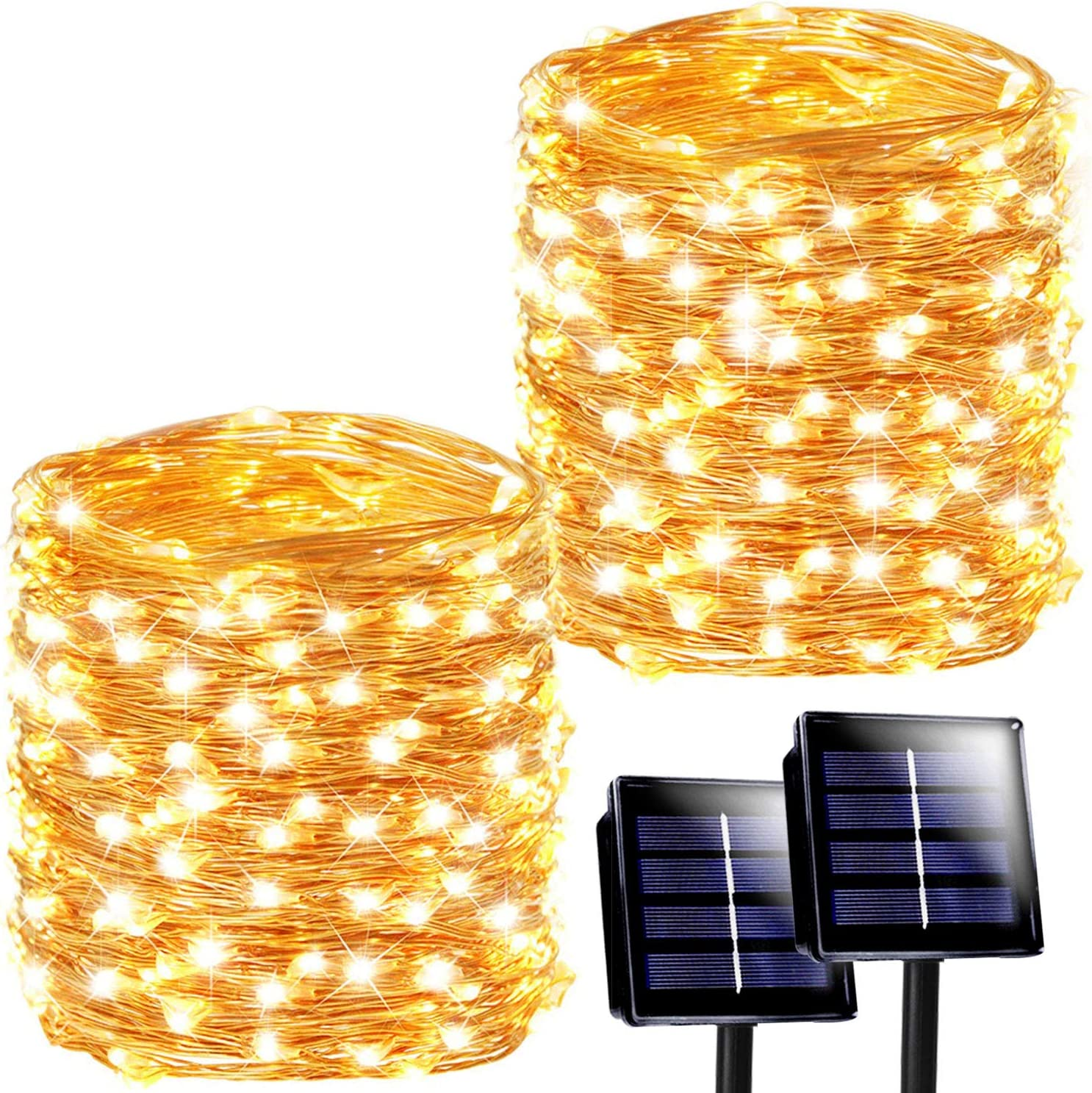 SANJICHA Solar String Lights Outdoor, 2-Pack Each 72FT 200LED Upgraded Super Bright Solar Lights Outdoor, Waterproof Copper Wire 8 Modes Fairy Lights for Garden Patio Party Decorations (Warm White)