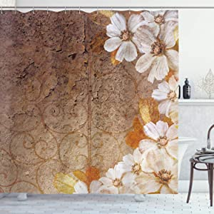 Ambesonne Grunge Home Decor Collection, Flowers and Leaves Pattern on Cracked Wall with Floral Lines Classic Deco, Polyester Fabric Bathroom Shower Curtain, 75 Inches Long, Brown Gold White