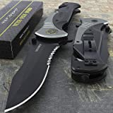 "Tac-force Extra Large Grey 10.5"" Folding Blade Spring Assisted Open Pocket Knife"
