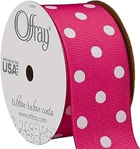 "3 yards Pink w// metallic gold polka dot print 7//8/"" grosgrain ribbon by the yard"