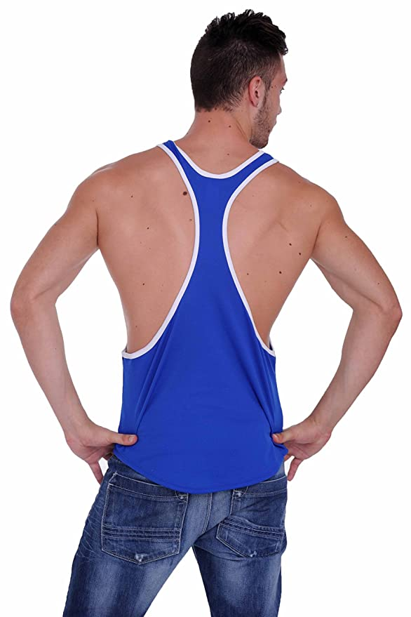 cfbbce760 Amazon.com: Men's Mesh Dri Fit Light Weight Racer Back Tank Top Gym Made in  The USA: Clothing