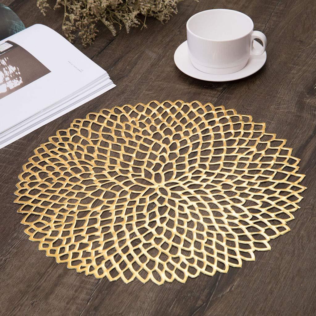 in PVC 1 isolamento floreale Tovaglietta da tavola rotonda 38 cm decorazione metallica per stoviglie da pranzo Luckyrainbow