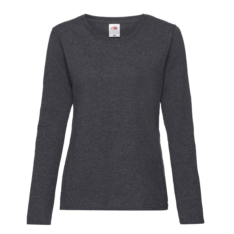 2aba3629a7e Fruit of the Loom Women's Valueweight Long Sleeve T-Shirt: Amazon.co.uk:  Clothing