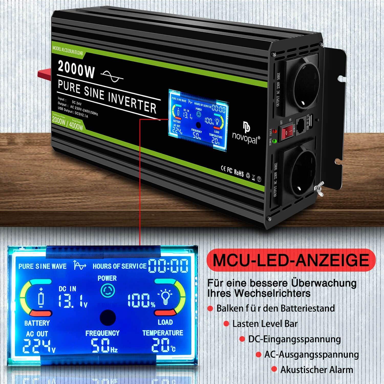 240V CA convertidor de Pantalla LCD 2 Salidas AC inversor de Coche con un Puerto USB Control Remoto de 5 Metros novopal Inversor de energ/ía de Onda sinusoidal Pura 2000W 24V CC a 230V