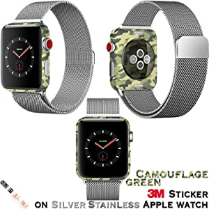 iWatch 3M Sticker Protector [Thinness Cover] [Soft Feeling] [Anti-Scratch] for Apple Watch 38mm 42mm Series 1 Series 2 Series 3, Apple Watch Protector (Green Camouflage 3M Sticker, 38mm Series 2)