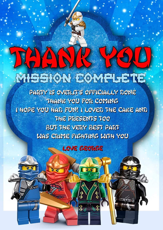 Fiesta de cumpleaños tarjetas de agradecimiento, Lego ...