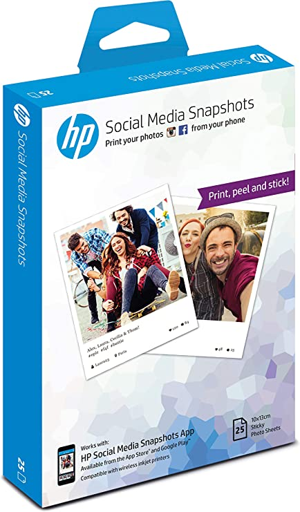 Hp W2g60a 10 X 13 Cm Social Media Snapshots Removable Sticky Photo Paper 265 Gsm 25 Sheets White Amazon Co Uk Office Products