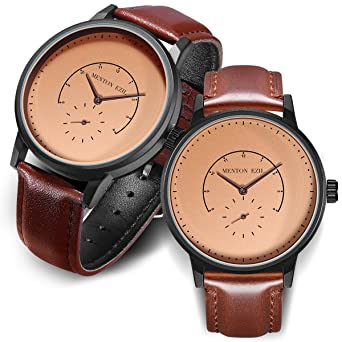 6eead30f0a0 Wooden Couple Watch for Women Men 30M Waterproof Classic Quartz Analog  Wrist Watches with Brown Leather