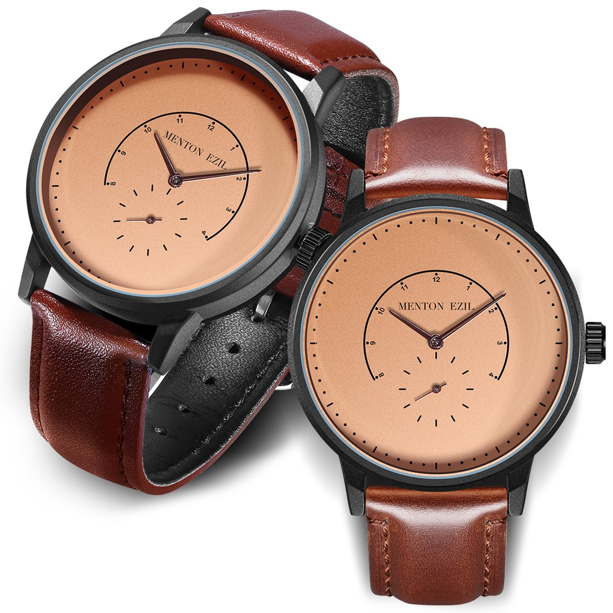 Wooden Couple Watch for Women Men 30M Waterproof Classic Quartz Analog Wrist Watches with Brown Leather (Dark Brown)