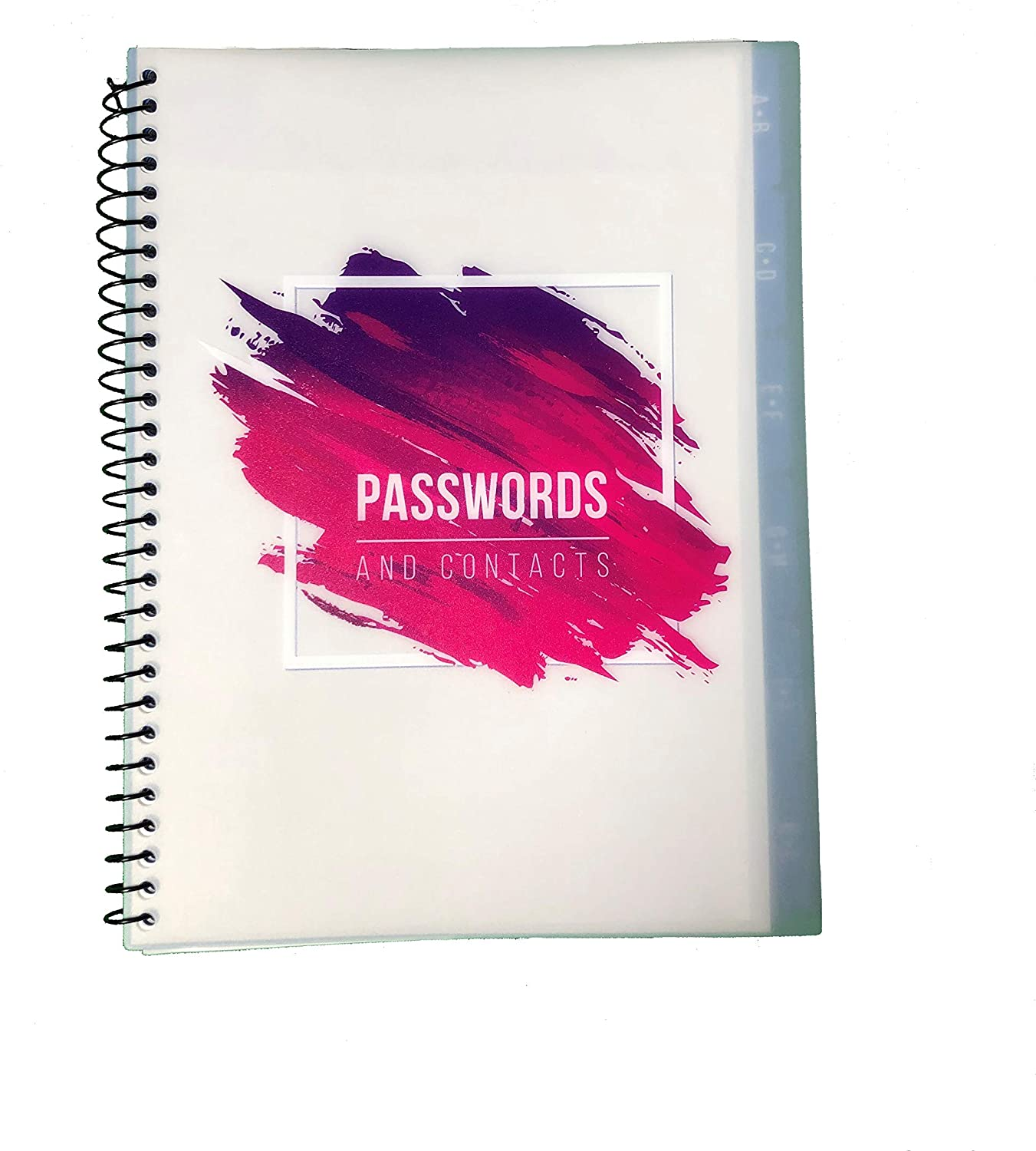 """Pink Password Book Keeper, Alphabetical Tabs, Spiral Bound, Tear-Out Sheets, Journal Organizer Includes Website, Address, Username, Password - 10"""" x 7.6"""" by Re-Focus The Creative Office"""