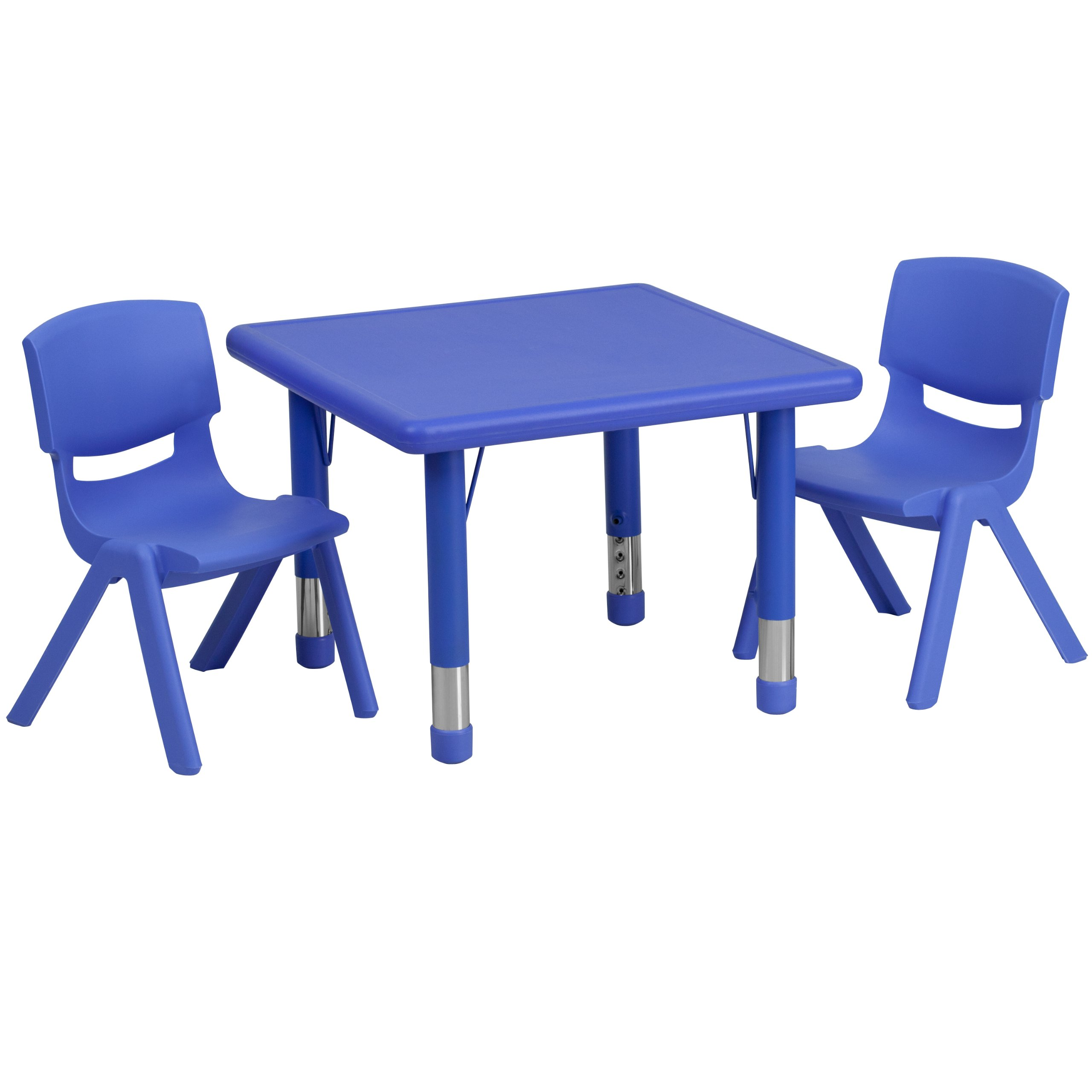 Flash Furniture 24'' Square Blue Plastic Height Adjustable Activity Table Set with 2 Chairs by Flash Furniture