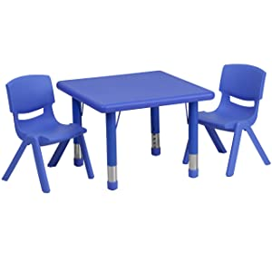 Flash Furniture 24'' Square Blue Plastic Height Adjustable Activity Table Set with 2 Chairs