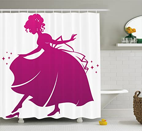 Princess Shower Curtain By Lunarable Silhouette Of Cinderella Wearing Her Glass Slipper Popular Kids Fairy
