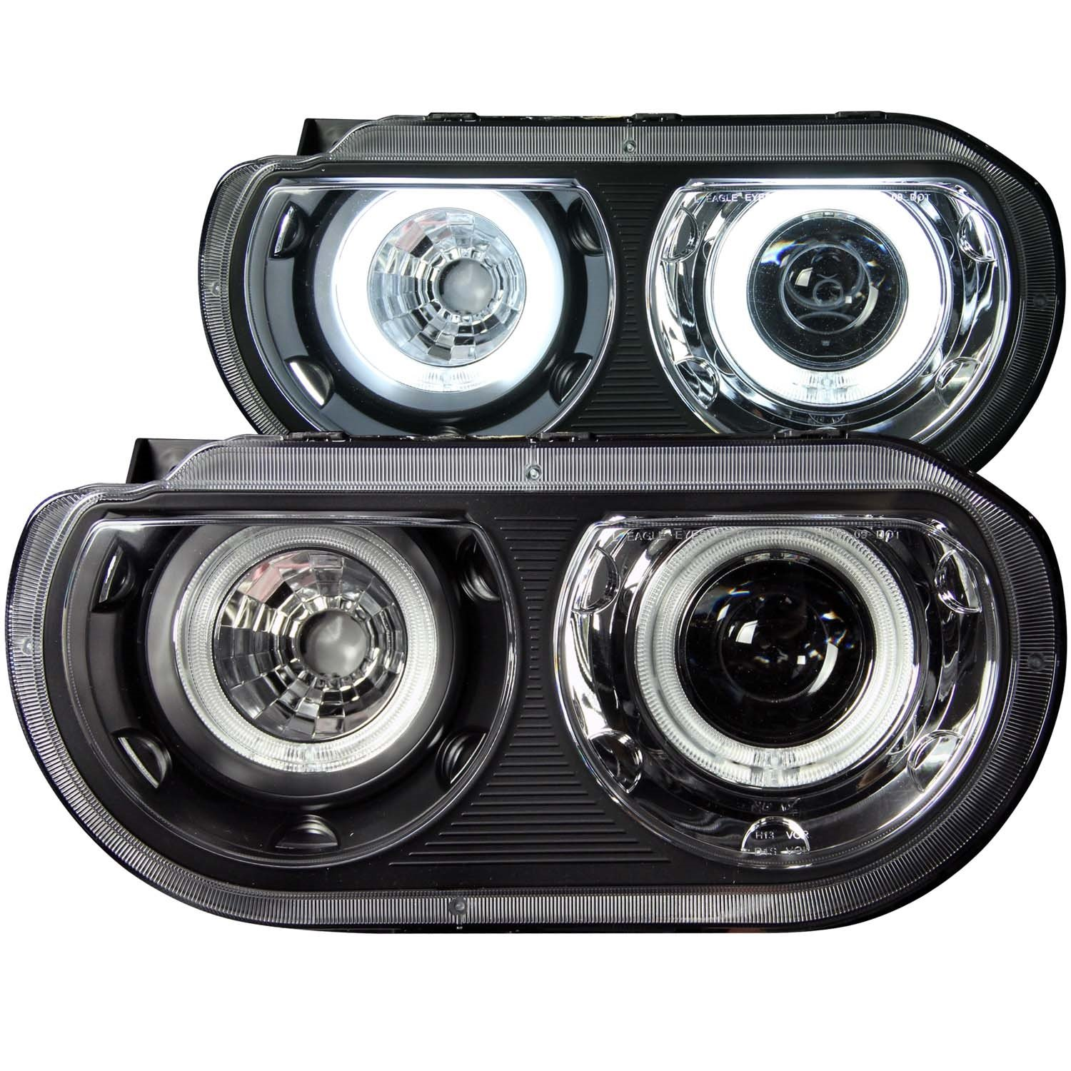 Anzousa 121306 Black Clear Dual Projector Halo Headlight Anzo Hid Wiring Diagram For Dodge Challenger Sold In Pairs Automotive