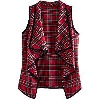 Romwe Women's Plus Plaid Contrast Trim Waterfall Collar Open Front Sleeveless Jacket Cardigan