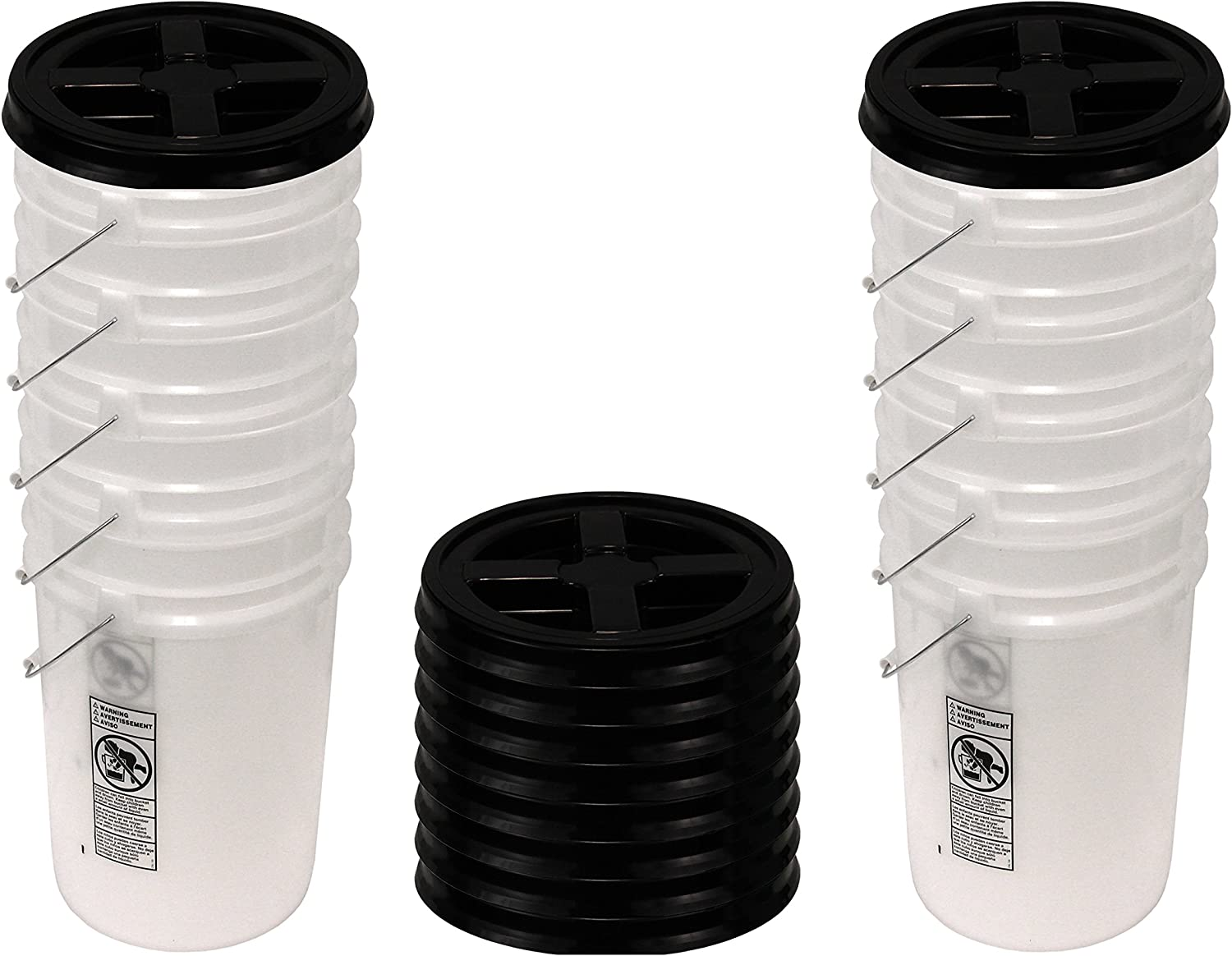Natural 6 Gallon Bucket with Black Gamma Seal Lid, 10 Pack