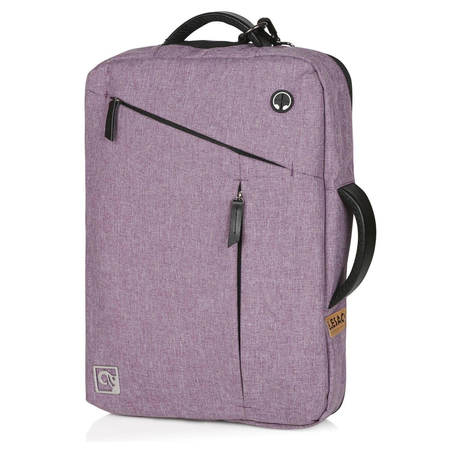 ELESAC Convertible 15 inch Laptop Briefcase & Backpack - Foldable Straps - Removable Shoulder Strap - Laptop case for HP/DELL / Lenovo/Toshiba / ASUS/ACER / Apple/COMPAQ / Tablet/E-Reader 15163Purple