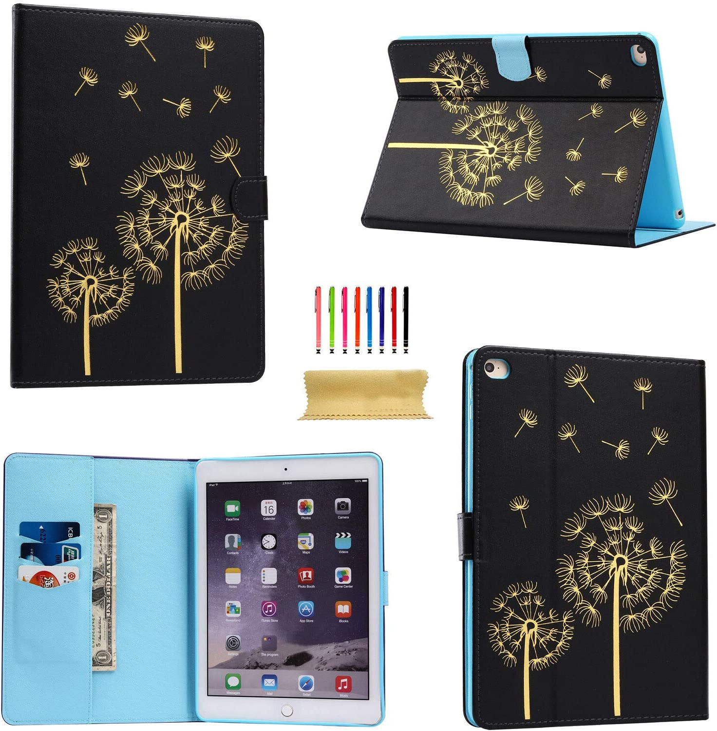 Case Safety 1x Apple iPad 9.7 2018 2017 / iPad Air 2/1 Smart Wallet Leather Case Stand Cover for iPad 5/6th Gen, Black Dandelion
