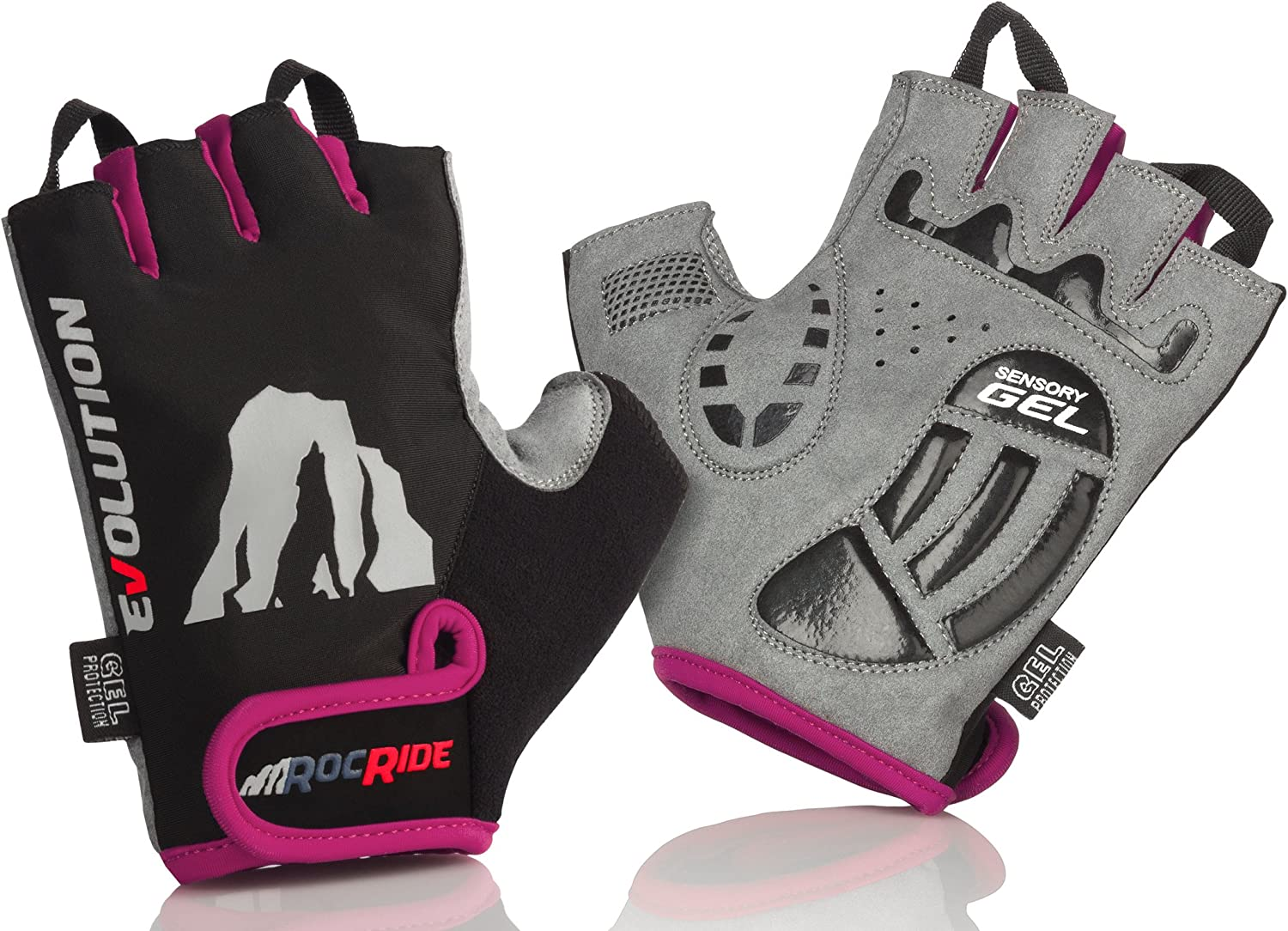 RocRide Cycling Gloves with Gel Padded Protection Road and Mountain Biking Half Finger with Pull Tabs Men Women and Children Sizes.