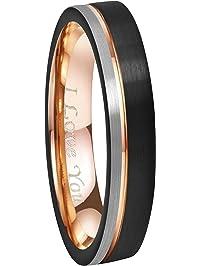 Crownal 6mm/8mm Tungsten Carbide Wedding Rings Men Women Rose Gold Line Ring  Black And