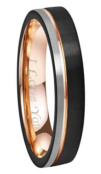 06a5a2c80506 CROWNAL 6mm 8mm Tungsten Carbide Wedding Rings Men Women Rose Gold Line Ring  Black Silver