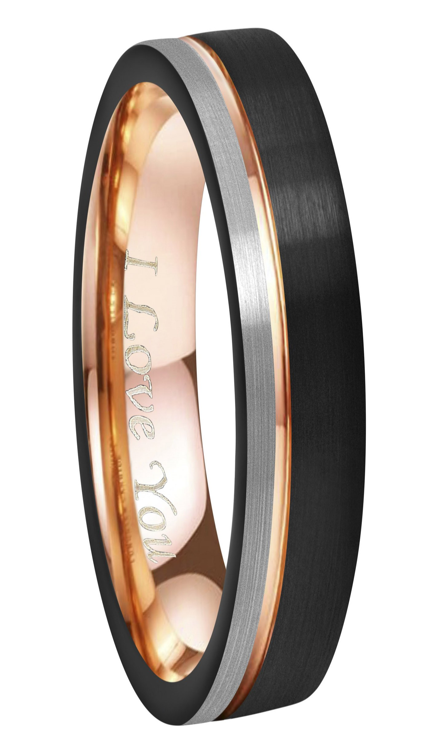 Crownal 6mm/8mm Tungsten Carbide Wedding Rings Men Women Rose Gold Line Ring Black and Silver Brushed Engraved ''I Love You'' Comfort Fit Size 4 To 16 (6mm,10)