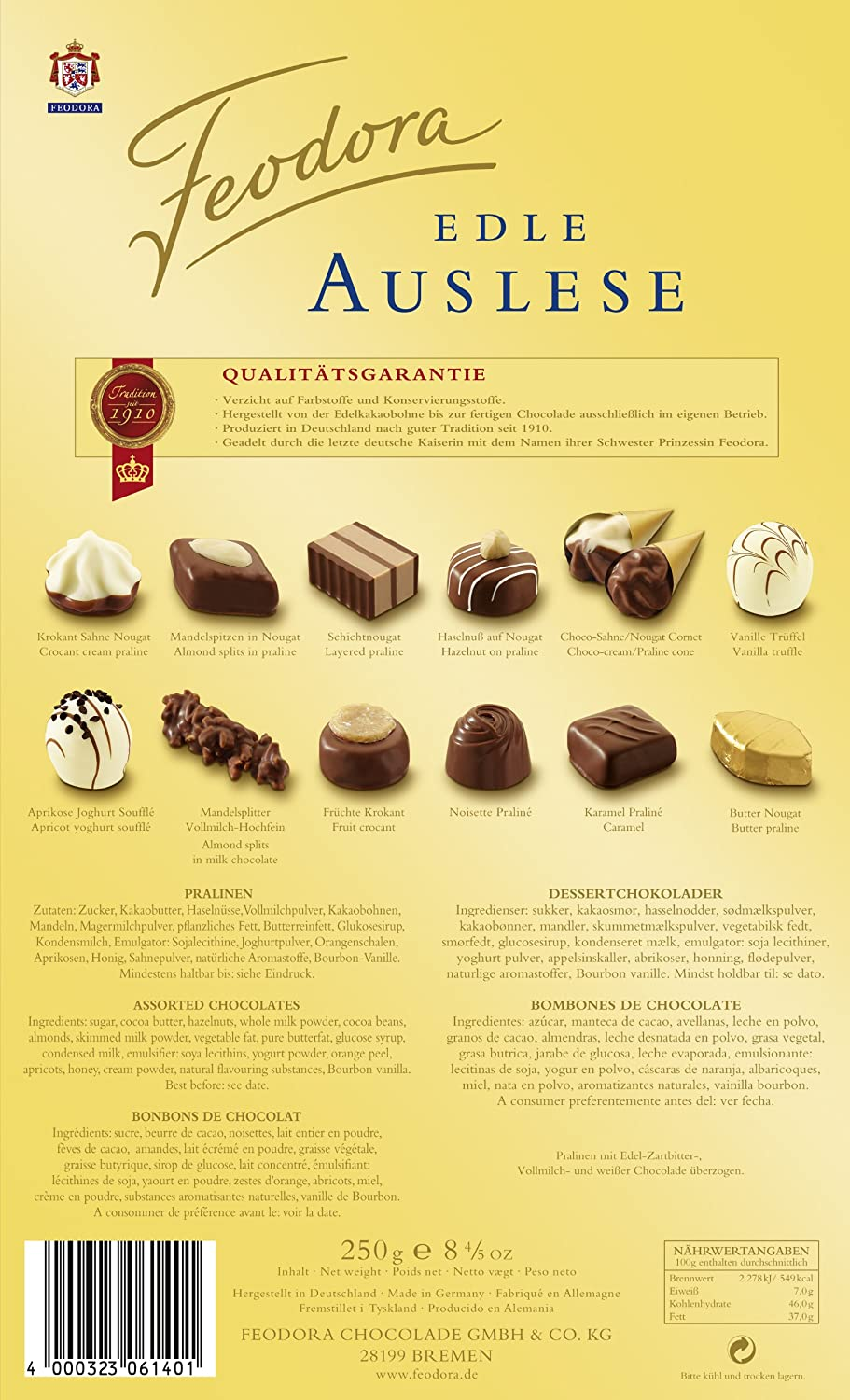 Amazon.com : Feodora Confiserie-Pralinés Edle Auslese ohne Alkohol, 1er Pack (1 x 250 g) : Chocolate Assortments And Samplers : Grocery & Gourmet Food