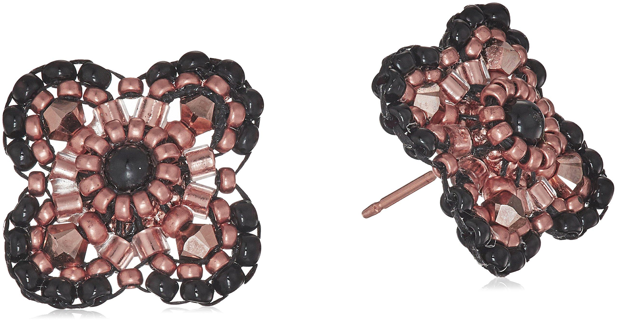 Miguel Ases Women's Onyx Center 3D Gerbera Daisy Post Rose Gold Drop Earrings