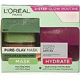 L'Oreal Paris Pure Clay Mask, Red Algae, 48g with Hydra Fresh Antiox Cream, 50ml