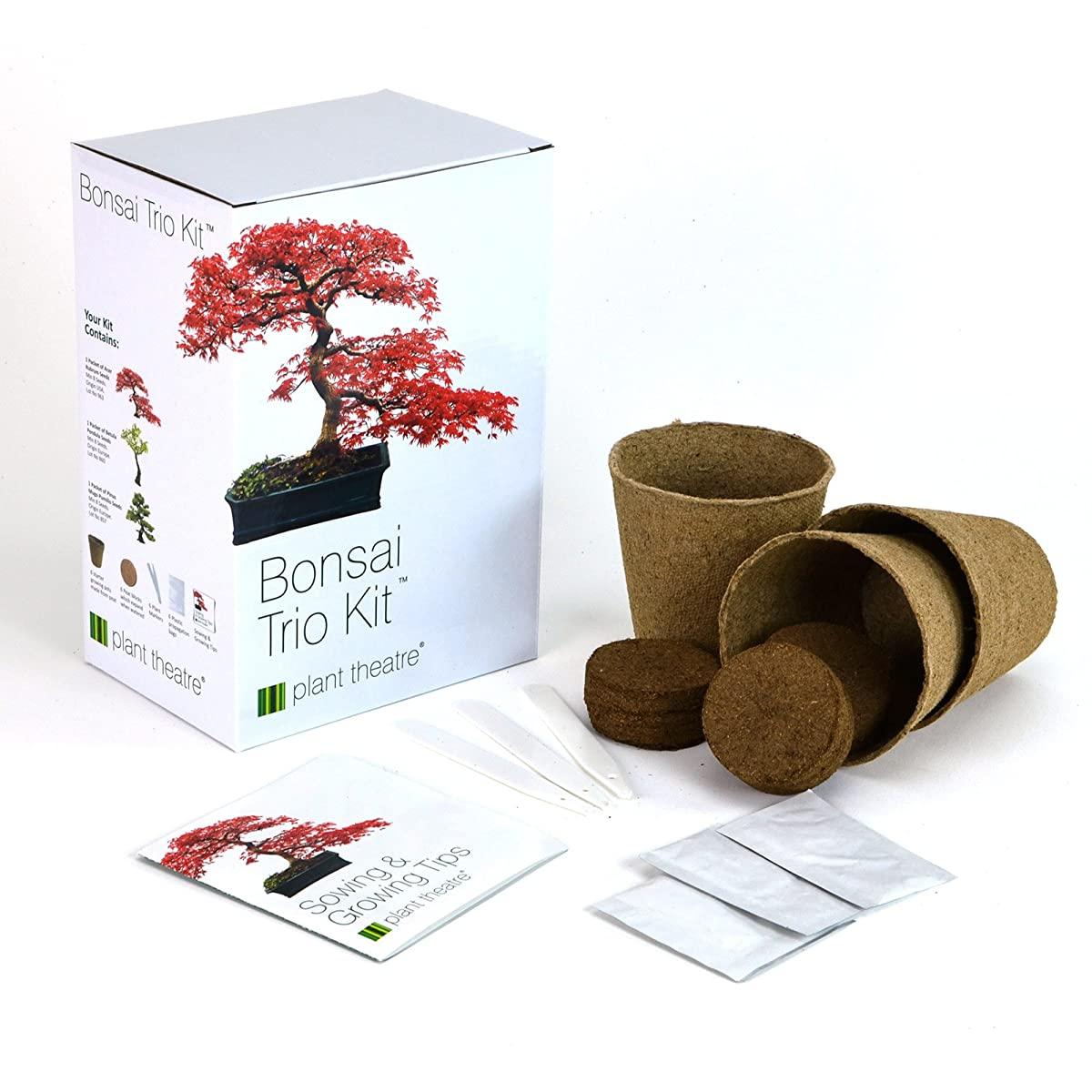 Plant Theatre Bonsai Trio Kit, 3 Distinctive Bonsai Trees to Grow