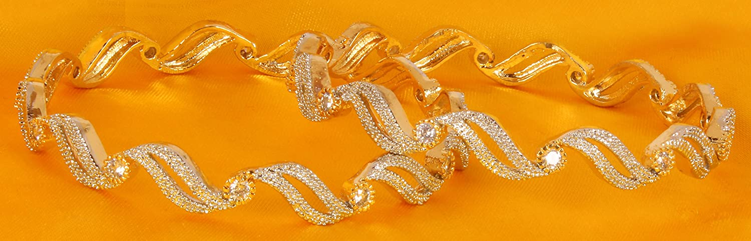 Shiv/_Collection Ethnic Traditional Fashion Gold Tone CZ Indian Bangle Bracelet Partywear Jewelry