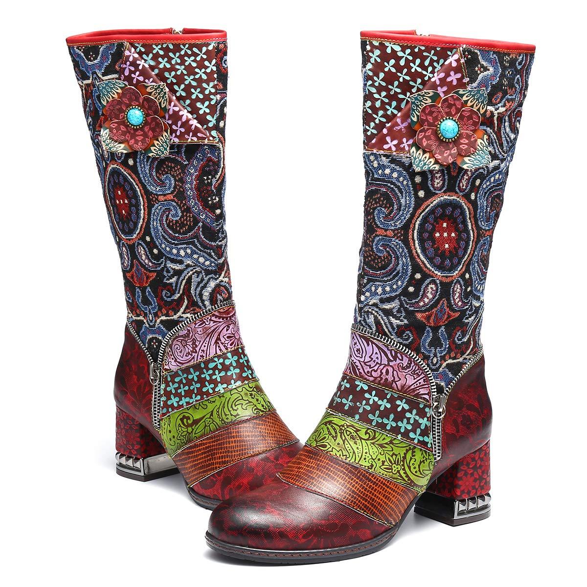 Botas Altas para Mujer Cuero de Invierno, Camfosy City Shoes con Piel de Tacó n Alto Có modos Botines Rojos Cá lidos para Mujer Colorees Bohemios Originales