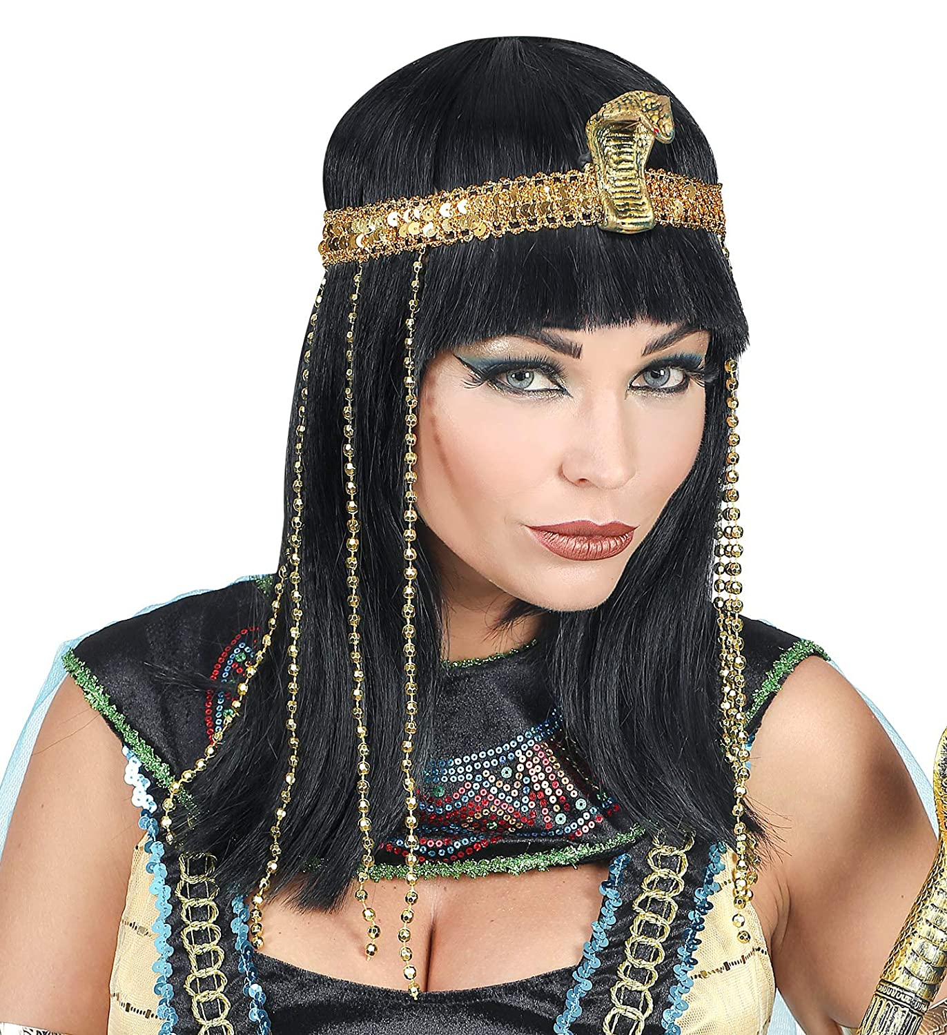 Black Fancy Dress Smiffys Egyptian Gold Womens Ladies Trim Queen Cleopatra Wig