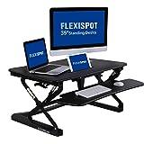 "FlexiSpot 35"" (89cm) M2B Height Adjustable Standing Desk Riser,sit stand Up Desk converter with wider keyboard tray (Black)"
