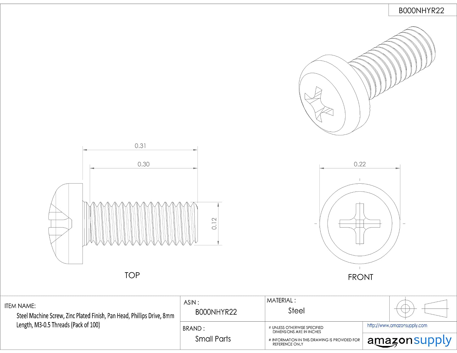 Steel Machine Screw Phillips Drive Pan Head 1//2 Length Zinc Plated Finish Pack of 100 #10-24 Threads