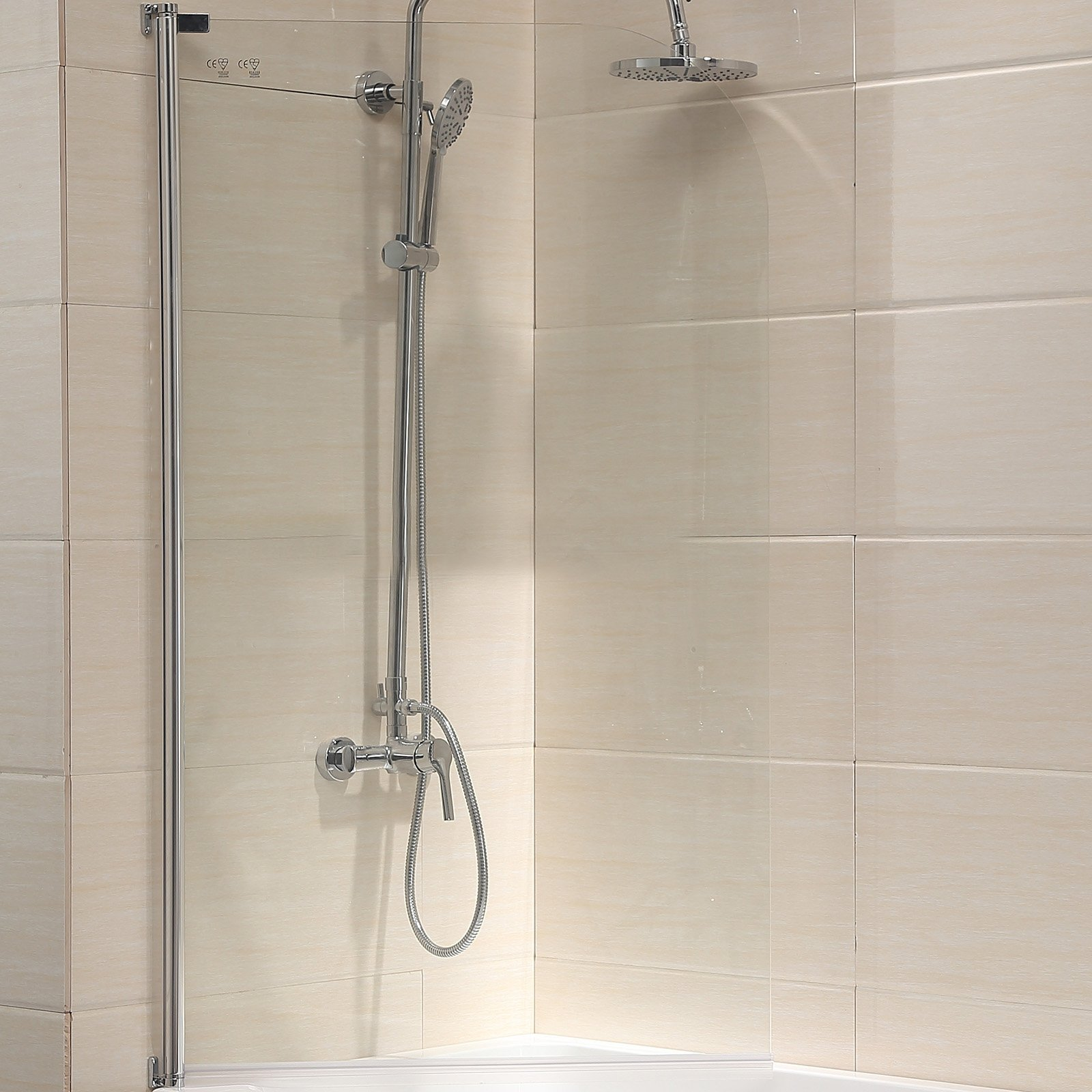 Mecor 55''X31'' Bathtub Shower Door 1/4'' Clear Glass Hinged Pivot Radius Frameless Chrome Finish by mecor (Image #3)