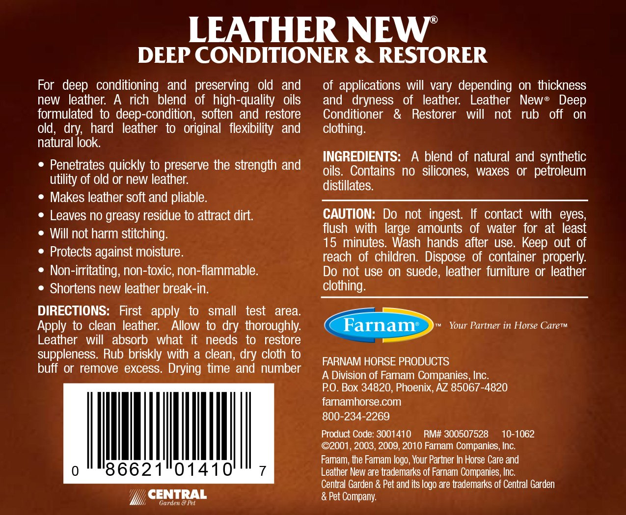 Amazon.com: Farnam Leather New Deep Conditioner, 32 oz: Pet Supplies