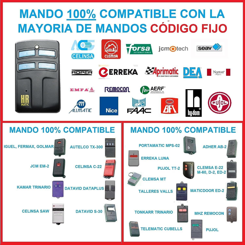 TRINARIOS Y BINARIOS MANDO GARAJE 100/% COMPATIBLE CON CODIGOS FIJOS DUPLICADOR COMPATIBLE MANDO COPIADOR CLONADOR