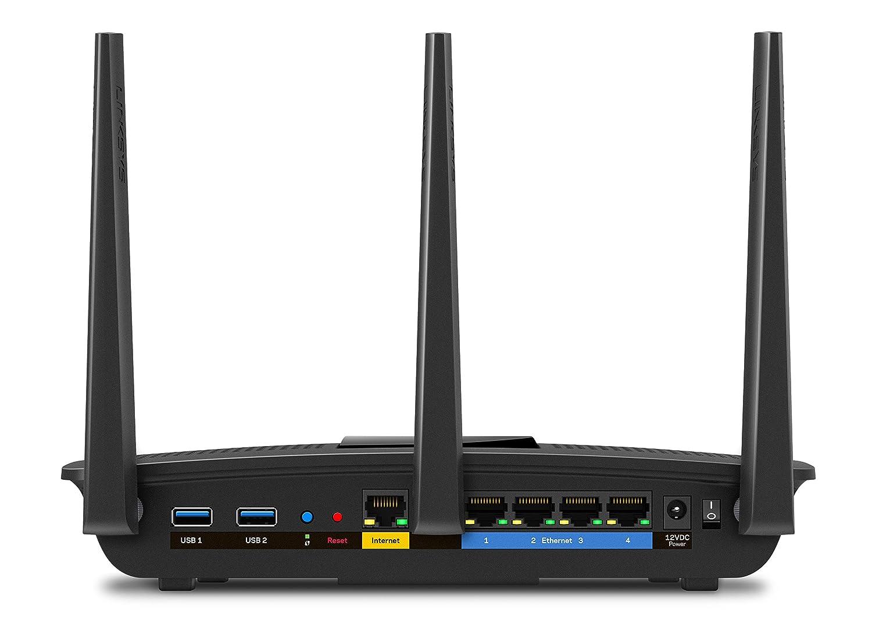 Router WiFi Gigabit MU-MIMO AC1900 MAX-Stream Negro monitorizaci/ón y administraci/ón remota de Red, CPU a 1.4 GHz, 4 Puertos Gigabit Ethernet, USB 3.0, Seguridad Avanzada de Red Linksys EA7500-EU