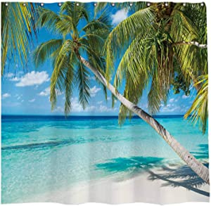 Allenjoy 72x72 inch Summer Seaside Shower Curtain Set Tropical Paradise Beach Blue Sky Palm Tree Decor Home Bathroom Bathtub Curtains Durable Waterproof Washable Fabric with 12 Hooks