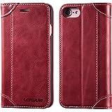 LENSUN iPhone8 ケース 手帳型 / iPhone7ケース 手帳型,ワイヤレス充電 本革 レザー マグネット レッド