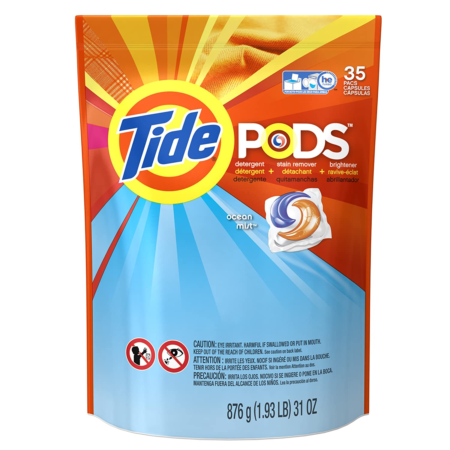 Amazon.com: Tide Liquid Laundry Detergent Pods - Ocean Mist 35-Count (Pack of 4): Health & Personal Care